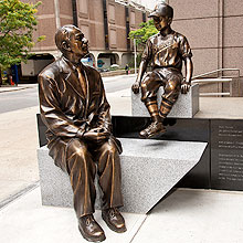 Sidney Farber and Jimmy statue