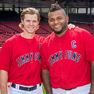 Boston Red Sox third basemen Brock Holt and Pablo Sandoval Jimmy Fund Co Captains