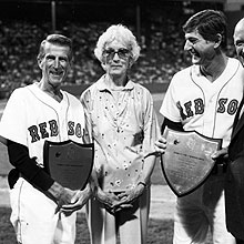 Red Sox Johnny Pesky, Jean Yawkey, and Carl Yastrzemski