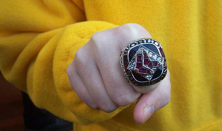 Molly O'Neill models David Ortiz's 2004 World Series ring
