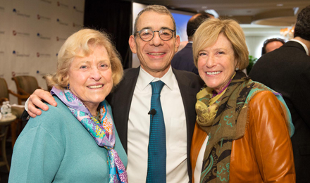 Esther Feldberg (left) with, Dana-Farber Chief Clinical Strategy Officer Eric P. Winer, MD, and Mollye Block
