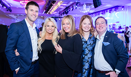 (l to r) Kelsey and Jason Emmett, Geri Emmett, Sarah and Alexander Emmett