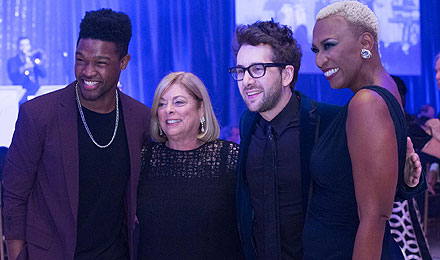 """The Voice"" performers Matthew Schuler, Will Champlin, and Sisaundra Lewis with Vicki Loring (second from the left)"