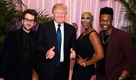 """The Voice"" performers Will Champlin, Sisaundra Lewis, and Matthew Schuler with Donald Trump (second from the left)"