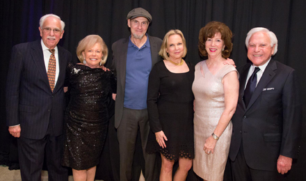 Dana-Farber Faculty Vice President for Academic Affairs Robert J. Mayer, MD; Institute Trustee and 2016 Discovery Celebration Chair Judie Schlager; 2016 Discovery Celebration performer James Taylor and his wife, Kim; Jane Mayer; and 2016 Discovery Celebration Chair Larry Schlager