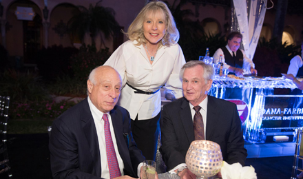 Jim and Judy Harpel (left) with Dana-Farber President and CEO Edward J. Benz Jr., MD