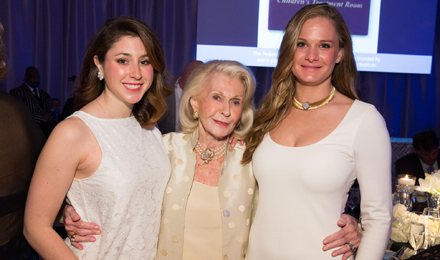 Institute Trustee and Discovery Celebration Founding Chair Emily F. DiMaggio (center) with Margel DiMaggio (left) and Charlotte DiMaggio (right)