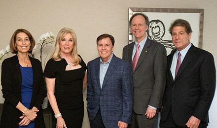 Laurie Glimcher, MD, Michele Kessler, Bob Costas, William Kaelin Jr., MD, and Howard Kessler