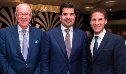 (l to r) Bob Crowe, Ambassador Meshal bin Hamad Al-Thani, and Michael B. Greenwald