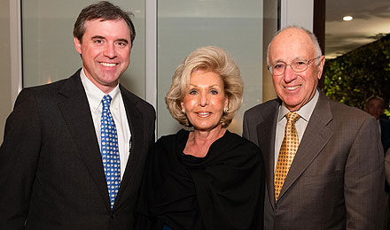 James Bradner, MD, (left) with Ethel and Bernard Garil