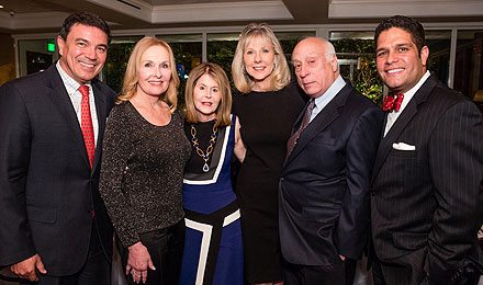 Table 26 owners Ozzie Medeiros (left) and Eddie Schmidt (right) with Pre-Celebration Dinner Co-Chairs Sheila Palandjian; Jean Sharf, an Institute Trustee; and Judy and Jim Harpel