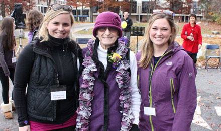 Claire Zampine Muollo with walkers at the Promises for Purple pancreatic cancer fundraising walk.