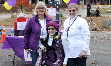 Claire Zampine Muollo with supporters at the 2013 Promises for Purple pancreatic cancer fundraising walk.