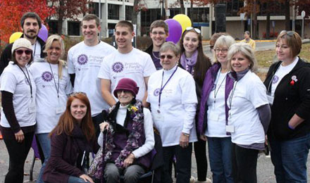 Claire Zampine Muollo with the walkers that came out to support Promises for Purple pancreatic cancer fundraising walk.
