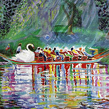 Boston Garden swan boat e-card