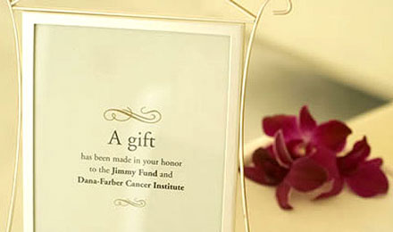 Wedding Gift Contribution Message : Jimmy Fund - Wedding and Party Favors